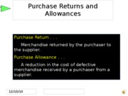 Week 4Purchase Returns and Allowances
