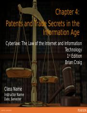 Ch 4 Patents and Trade Secrets in the Information Age