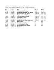 Ecology Lectures Schedule