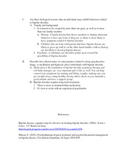 Outline research paper bipolar disorder