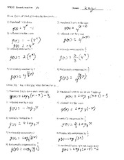 ... translations and transformation with functions worksheet with key