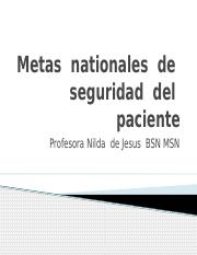 Metas  nationales  de   seguridad  del  paciente