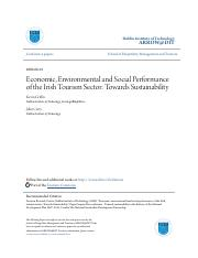 Economic Environmental and Social Performance of the Irish Touri