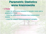 SParametric Statistical Tests