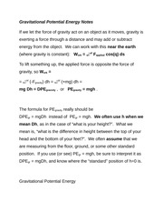 Gravitational Potential Energy Notes