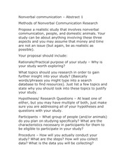 Abstract 1 Assignment- Methods of Nonverbal Communication Research