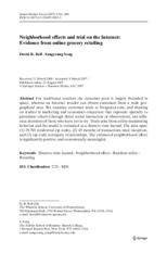 Neighborhood effects and trial on the internet-Evidence from online grocery retailing