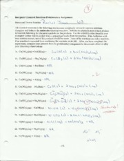 chem 108 inorganic chemical reaction assignment