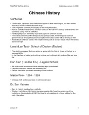 china history and essay outline