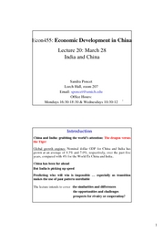 ECON 455 Lecture 20 India and China