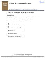 Career counselling as life career integration