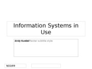 Information Systems in Use