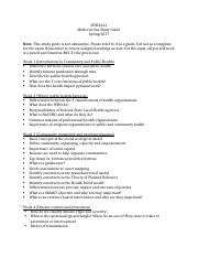 HTH2413 exam one study guide