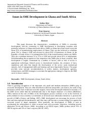 Issues in SME development in Ghana and SA