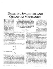 Duality, Spacetime, and Quantum Mechanics