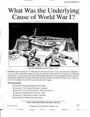 what were the underlying causes of world war 1 thesis Causes of ww1 extracts from this different views on what was the main cause of the first world war as one country they were determined to show their.