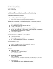 ISS 305 Chapter 1 Notes: Social Science and Evaluating Events