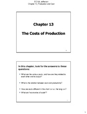 Chapter 13 The costs of Production 1