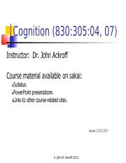 Intro to Cognition Part 1