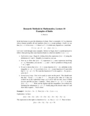 Research Methods in Mathematics Lecture 10