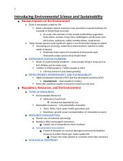 Ch. 1 Introducing Environmental Science and Sustainability Notes.docx