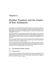 c02 Residue Numbers and the Limits Fast Arithmetic