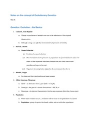Notes on the concept of Evolutionary Genetics
