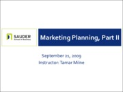 Sep 21 - Marketing Planning, Part II