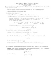 Math for Econ II Homeowkr 1 Solutions