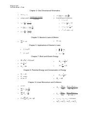 Physics 1401 Formulas