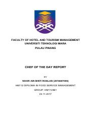 Aingg Cod Report Pdf Faculty Of Hotel And Tourism Management Universiti Teknologi Mara Pulau Pinang Chef Of The Day Report By Noor Ain Binti Course Hero