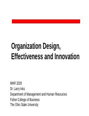 MHR 3200--Organization Design, Effectiveness and Innovation (for Canvas)