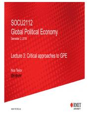 Lecture 3 - Critical approaches to GPE