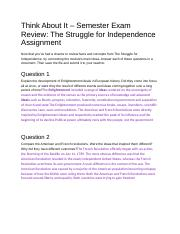 Think About It_Semester Exam Review_The Struggle for Independence Assignment