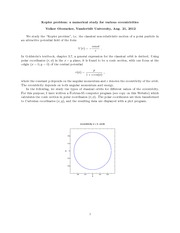 Physics 305_Lecture Notes on Kepler Problem