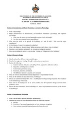 Introduction to Psychology Tutorial Sheet