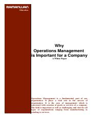 Why Operations Management is Important for a Company