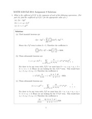 MATH 3120 Fall 2014 Assignment 8 Solutions
