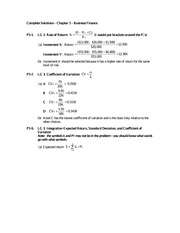Complete Solutions - Chap 5 HW - Business Finance
