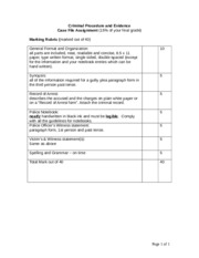 Case File Assignment Marking Rubric