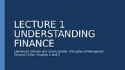 EIB 508 Principles of Finance Lecture 1 Understanding Finance