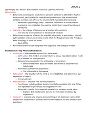 Lecture 9 Class Notes, Behaviorism and Social Learning Theories