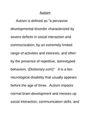 Outline for research paper on autism