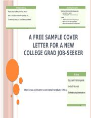 A Free Sample Cover Letter for a New