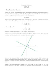 Homework 1 Solutions- Vectors, Transformation matrices, Coordinates, Newton's Laws