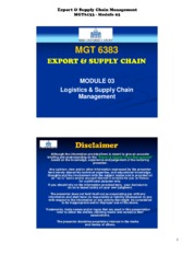 export and supply chain management 2