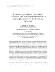 Complex Systems in Education- Scientific and Educational Importance and Implications for the Learnin