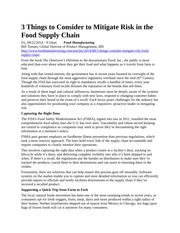 3 Things to Consider to Mitigate Risk in the Food Supply Chain