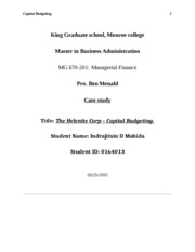 Capital Budgeting - case study