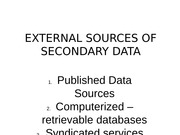 EXTERNAL SOURCES OF SECONDARY DATA